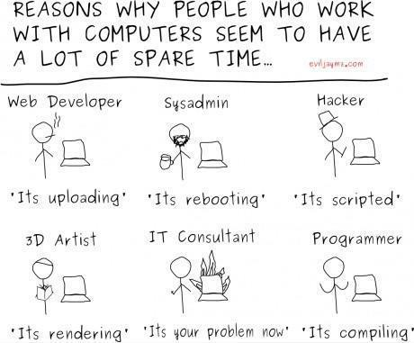 Reasons why people who work with computers seem to have so much spare time...