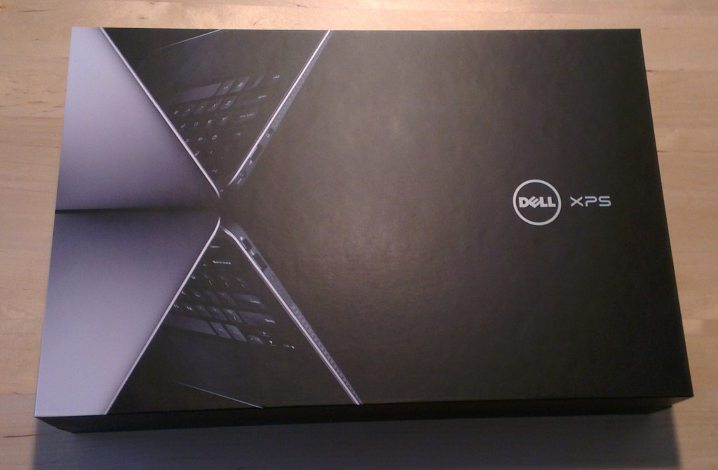 Fancy Dell box containing the actual laptop